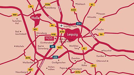 Anfahrt Karte von Leipzig zum NOVA Leuna